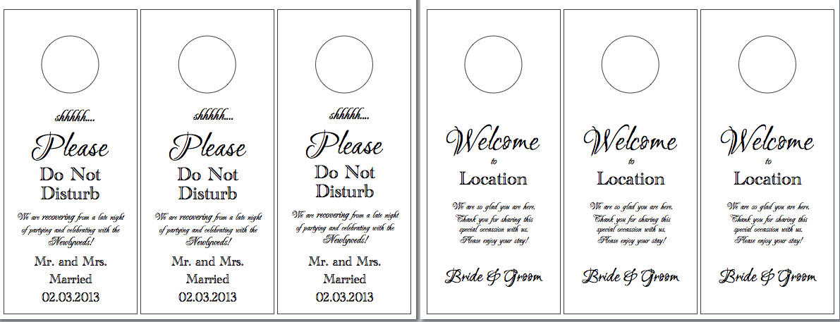 Hotel Door Hangers Hayleys Wedding Tips - Hotel door hanger template