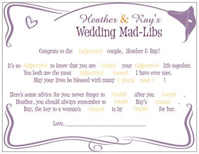 Mad libs | Hayley\'s Wedding Tips 101