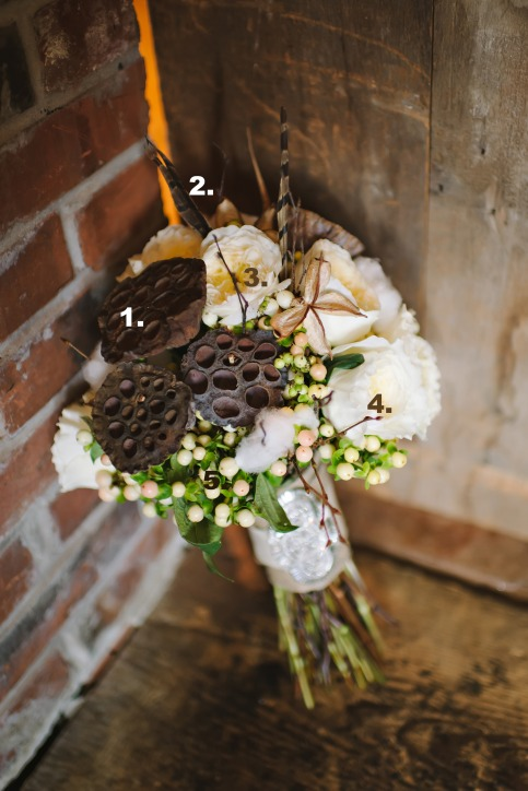 1. Lotus Pods   2.  Pheasant Feathers  3.  Garden rose (?) 4.  twigs  5. Hypericum Berries Credit peacockblooms.com