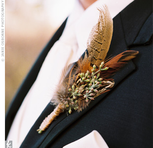 pheasant feather and seeded eucalyptus Credit: theknot.com