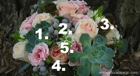 1. Succlents 2. Siver Brunia  3. Scabiosa  4. Garden Roses  5. Star of Bethlehehm credit: viniferafloraldesign.com